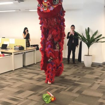 twin led lion dance performance and mask changing singapore