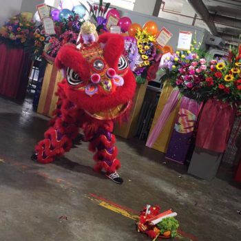 red lion dance performance with mask changing singapore